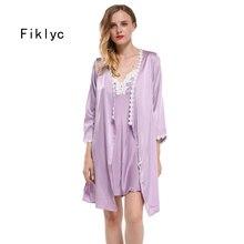 Fiklyc מותג מלא שרוול סקסי נשים של robe & שמלת סטי תחרה פרחוני סאטן נשים של פיג סטי כתנות הלילה + חלוק homewear חם