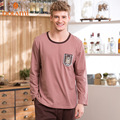 Autumn 2016 Men Pajama Sets 100% Cotton Sleepwear Solid Pajamas Homewear Full Sleeve Pijama O-Neck Casual Sleep Lounge Pyjama