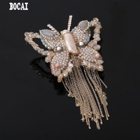 New high end mother of pearl butterfly brooch crystal studded tassel brooch