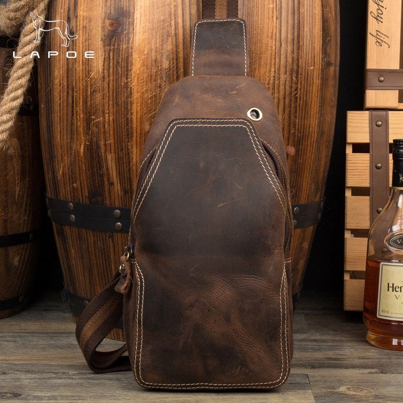 LAPOE Men Messenger Bags Genuine Leather Handbag Cross Body Shoulder Chest Bags Packs vintage crazy horse leather bag men brown