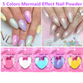 Moda 5 Colores Cromo Nail Powder Sirena Efecto Mágico Polvo de Destello Brillante de Polvo Del Brillo Del Clavo Del Polaco DIY Gel UV Nails arte