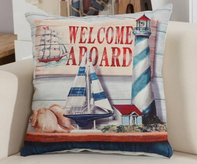 Sea Solider Blue Helm Cushions Cover Anchor Boat ocean Marine Linen Throw Pillows Case