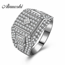 AINUOSHI Luxury Zircon Men Ring Big Cool Anillo Hombre 925 Sterling Silver Engagement Wedding Rings Fashion Jewelry Customized