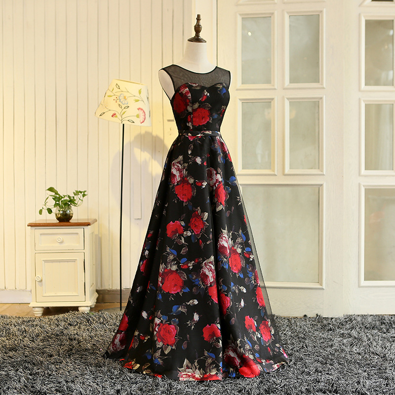 Walk Beside You Black Red Print Evening Dresses Floral Pattern Long Gowns  Sheer Neck Women Party vestido de festa longo de luxo be47ad6bc782