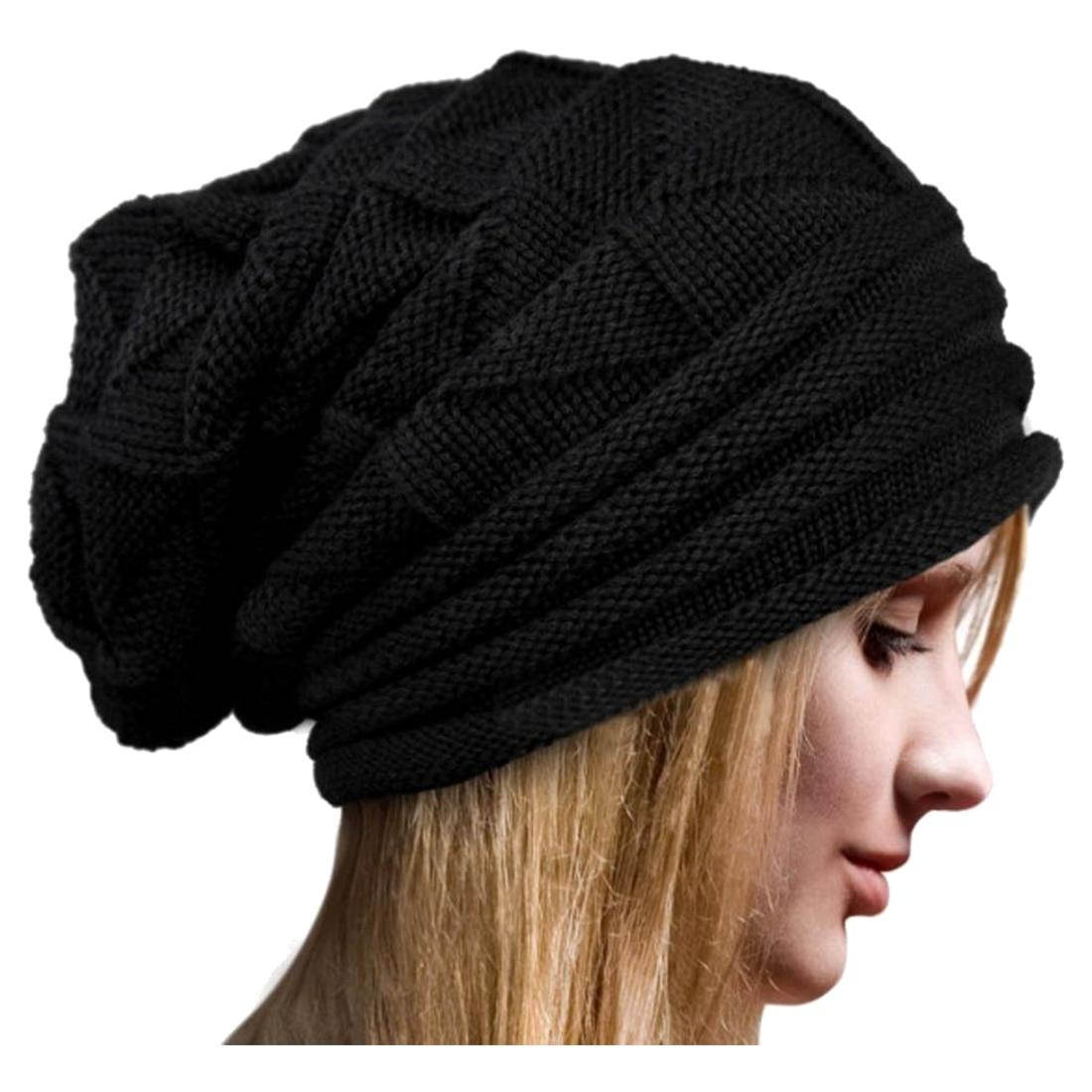 New Women Unisex Winter Crochet Hat Ski woolen yarn Knit Beanie Warm Caps Oversized, Black warm keeping woolen yarn hat w mouth mask black grey