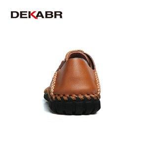 Image 3 - DEKABR zapatos informales de piel auténtica con cordones para hombre, calzado elegante de uso diario, Oxford