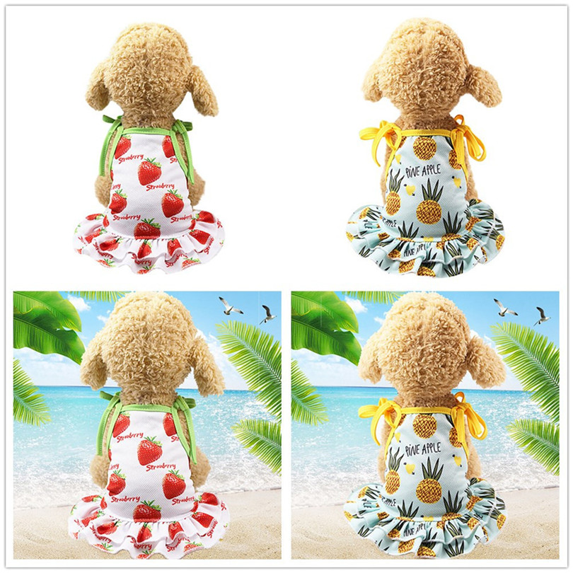 Pet Dogs Dress Breathable Polyester Fruit Print Pet Couples Dress Puppy Dog Princess Lovely Strawberry Pineapple Dress (1)