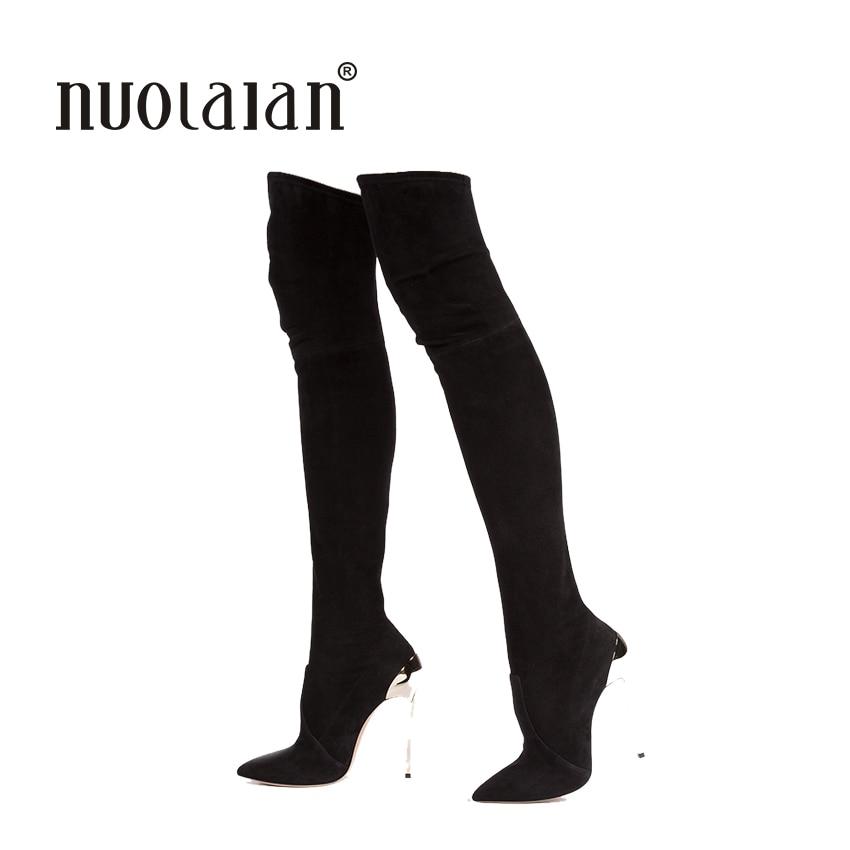 photos officielles 6a974 954c3 € 25.5 65% de réduction|2018 automne hiver femmes bottes Stretch Faux daim  Slim cuisse haute bottes mode Sexy sur le genou bottes talons hauts ...