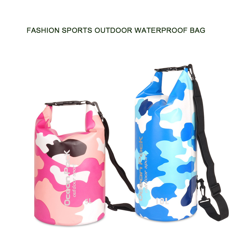 fee2fd4c37a0 5L/10L/15L/20L/30LWaterproof Bags Storage Dry Sack Bag Camouflage Backpack  For Canoe Kayak Rafting Outdoor Sport Swimming Bags