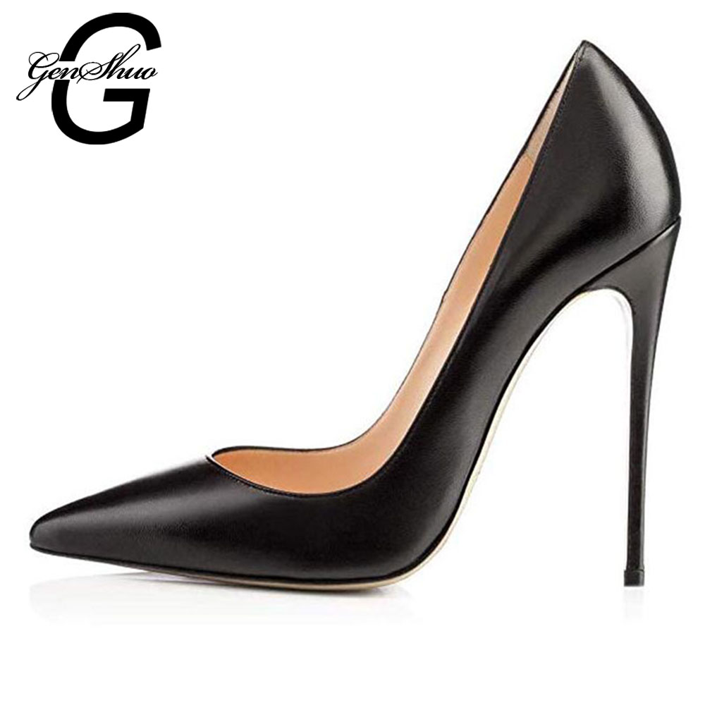 GENSHUO Nude Pumps For Women High Heels Pointed Toe Party
