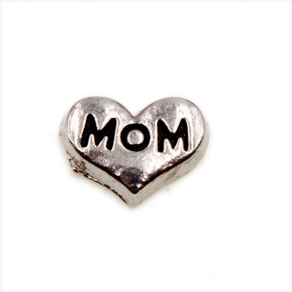 100PCS Cute MOM Heart Alloy Floating Charms Fit Glass Locket Charms DIY Jewelry Accessories