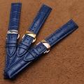 Novo 18mm 20mm 22mm pulseiras de relógio de couro azul com prata ou ouro ou butterfly fivela faixa de relógio rosegold correia de acessórios de moda