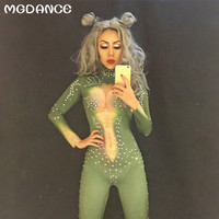 Sexy Dance Costumes Bodysuit Sparkling Crystals Jumpsuit Singer Christmas Celebrate Nightclub Performance Stage Costume Outfit