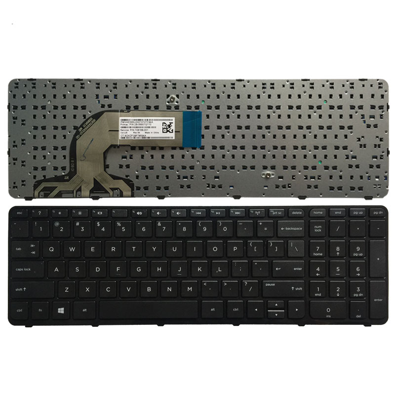 Nuovo US Tastiera Nera PER HP 15-g000 15-r000 15-g 15-r 250 G3 255 G3 256 G3 15-r007nc 15-r008nc 15-r009nc 15-r010nc con Telaio