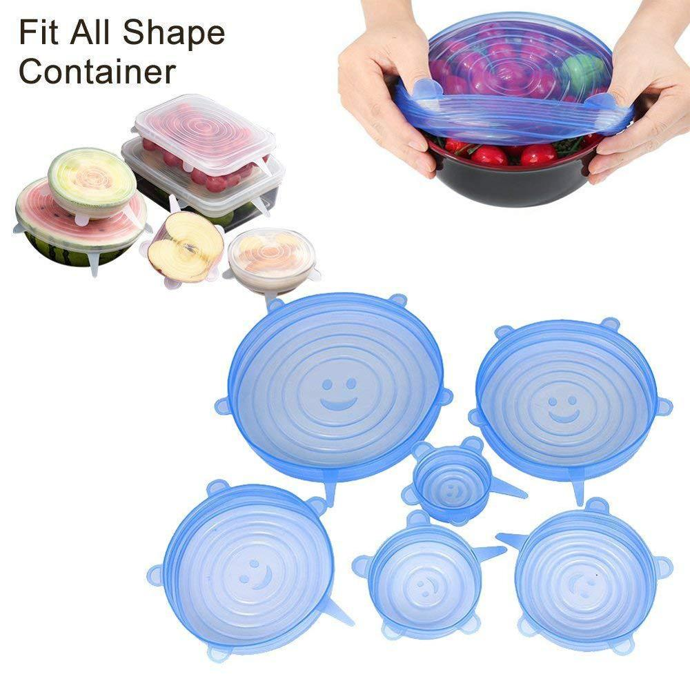 6Pcs Reusable Silicone Food Caps Dishes Covers Fruit Wrap tapas de silicona para alimentos Sealing Food Fresh Keep Stretch Lids