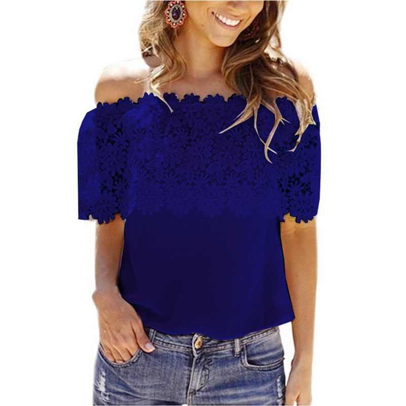 CALOFEE Off Shoulder Crochet Chiffon T-Shirts Women Lace Shirt Patchwork Solid T Shirts Slim Shirt Short Sleeve Summer Top