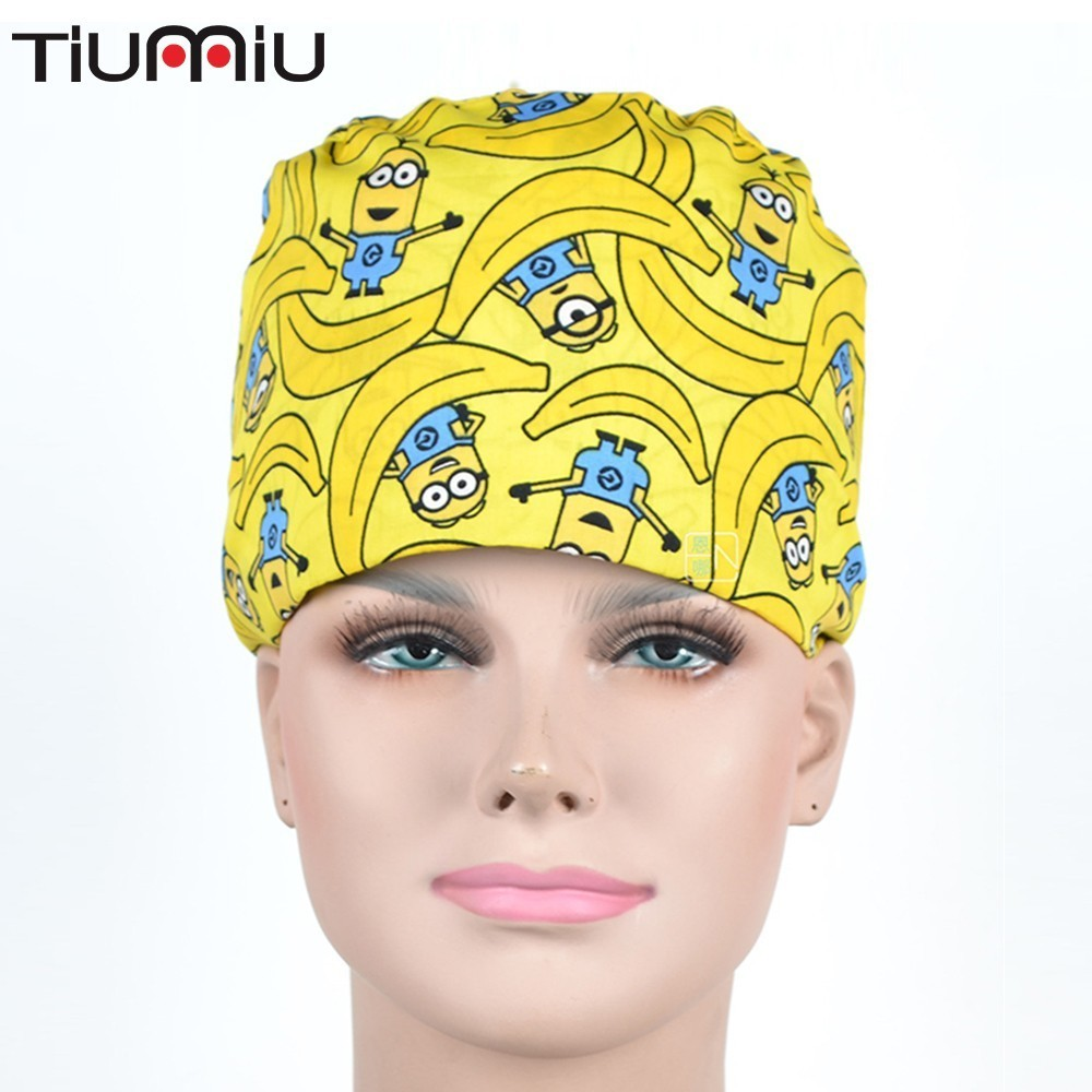 Hat Male Pure Cotton Ventilation Operation Room Hats Woman Nurse Hat Hospital Work Printing Package Head Cap Gourd
