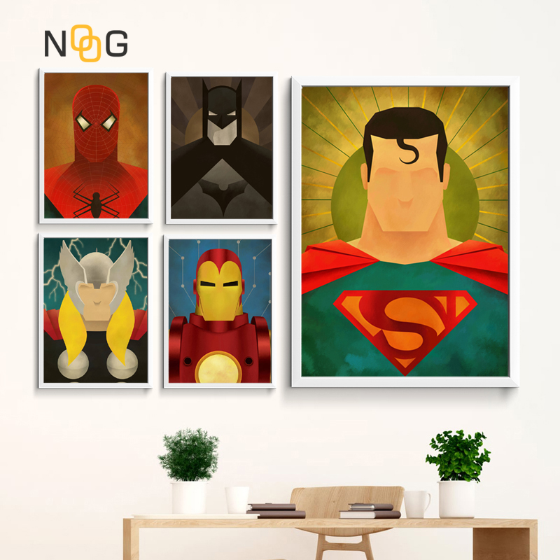 NOOG Hot Superheros Marvel Character DC Comics Wall Art Modern Print Poster Abstract Painting Pictures For Living Room