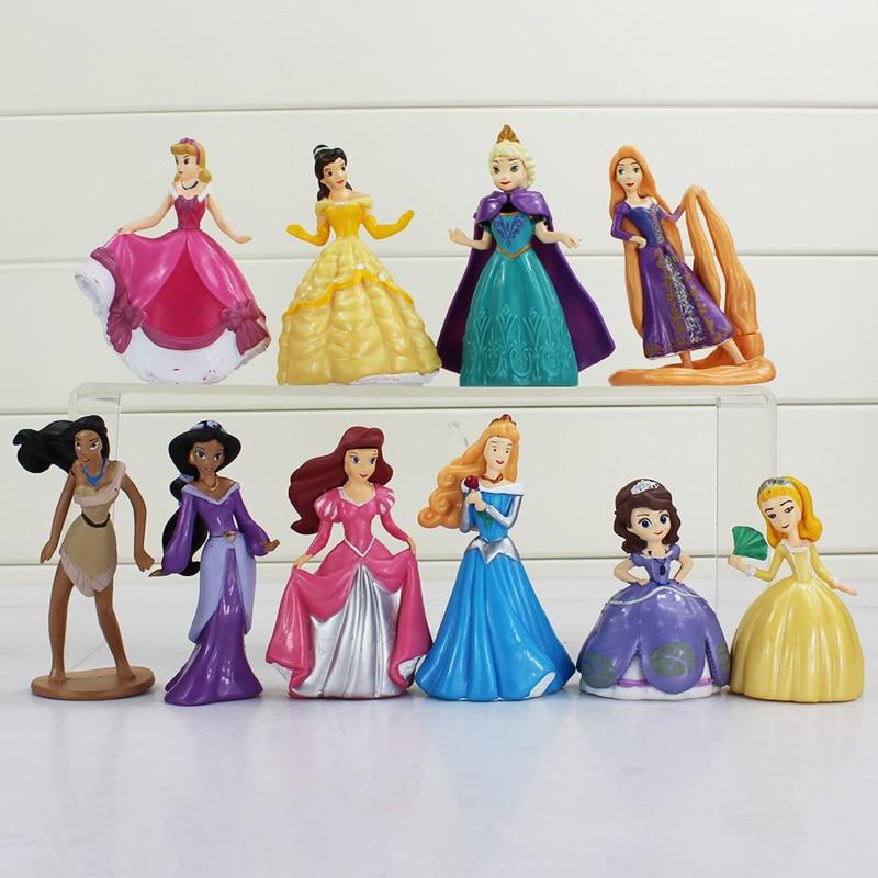 10pcs/set Princess Elsa Sofia Bella Tangled Pocahontas Jasmine Ariel PVC Figure Toys Free Shipping jl 020 us plug e27 led pir motion sensor lamp holder white ac 180 240v