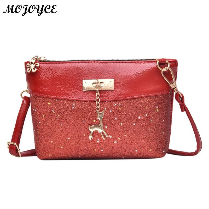 Women Casual PU Leather Sequins Shoulder Bag High Quality Small Handbag Female Zipper Portable Messenger Bag Daily Use Bag New 2015 new fashion trend of women bag quality pu leather bucket bag portable shoulder messenger bag sweet personality small bag