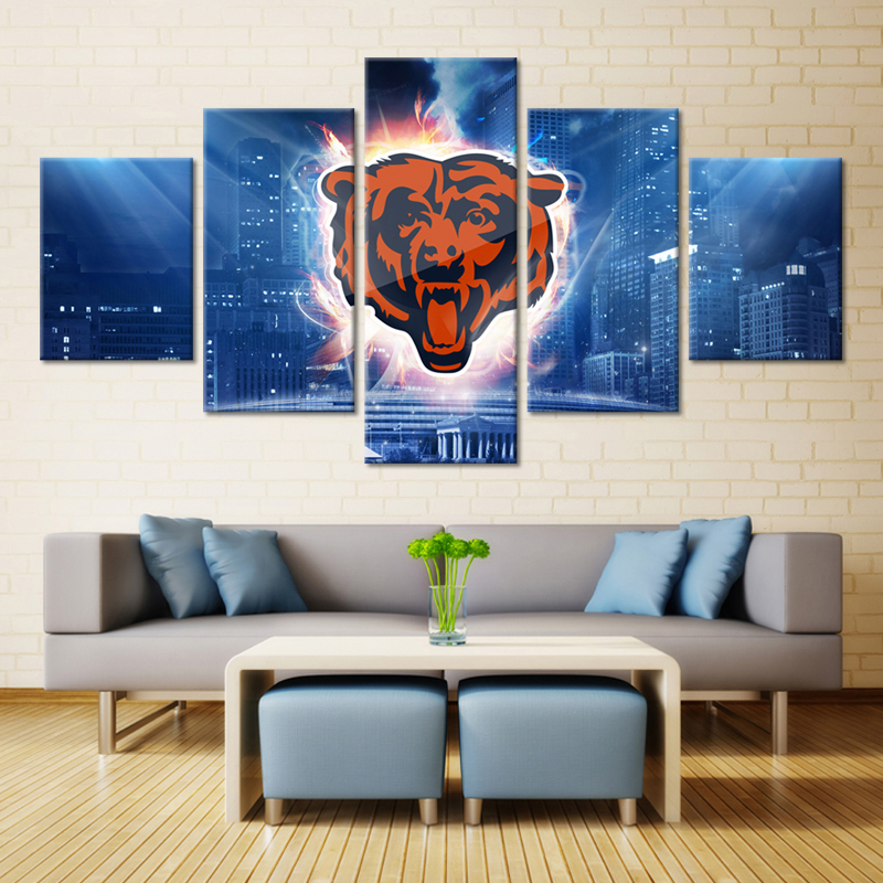 5 Pieces Chicago Bears City Wall Art Picture Modern Home Decoration Living  Room Or Bedroom Canvas Part 92