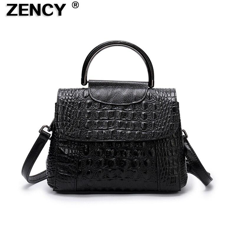 Small New Arrival 100% Genuine Real Leather Women's Handbag Tote Bags Embossed Crocodile Alligator Pattern Cowhide Ladies Purse multi zips crocodile embossed handbag
