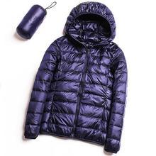 Autumn Winter Ultra Light Down Jacket Women White Duck Down Hooded Windproof Jackets Parka Female Casual Slim Portable Coats стоимость
