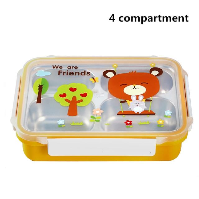 Yellow 4compartments Cheap bento boxes 5c6479e2ee0b4
