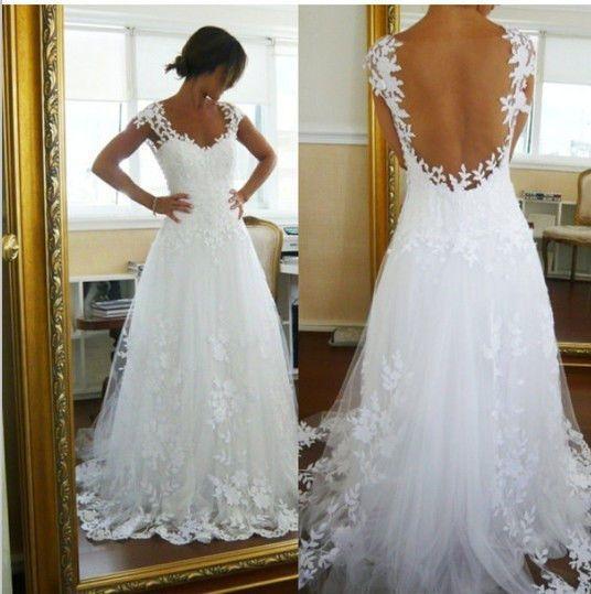 2015 Hot Sale Cap Sleeve Wedding Dresses 2014 Sexy See Through Back Brides Gown Vestidos De Noiva