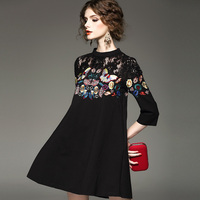2018 spring summer women black women loose Butterfly Embroidery Dress lady elegant fashion hollow out sexy flower dresses