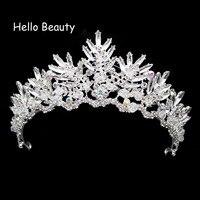 Handmade Rhinestone Głowy Biżuteria Moda Romantyczny Kryształowe Dla Nowożeńców Tiara Włosów Tiara Korona Ślubna Biały Koralik Perła Dla Kobiet