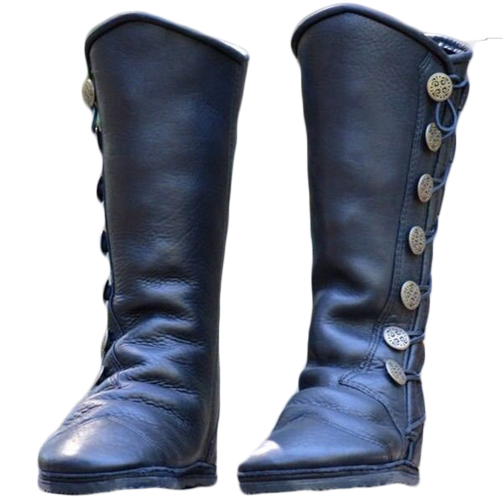 2018 New Women knee High Boots Metal Button Riding Booties Women shoes Female Vintage Soft Leather Winter Boots sapato feminino