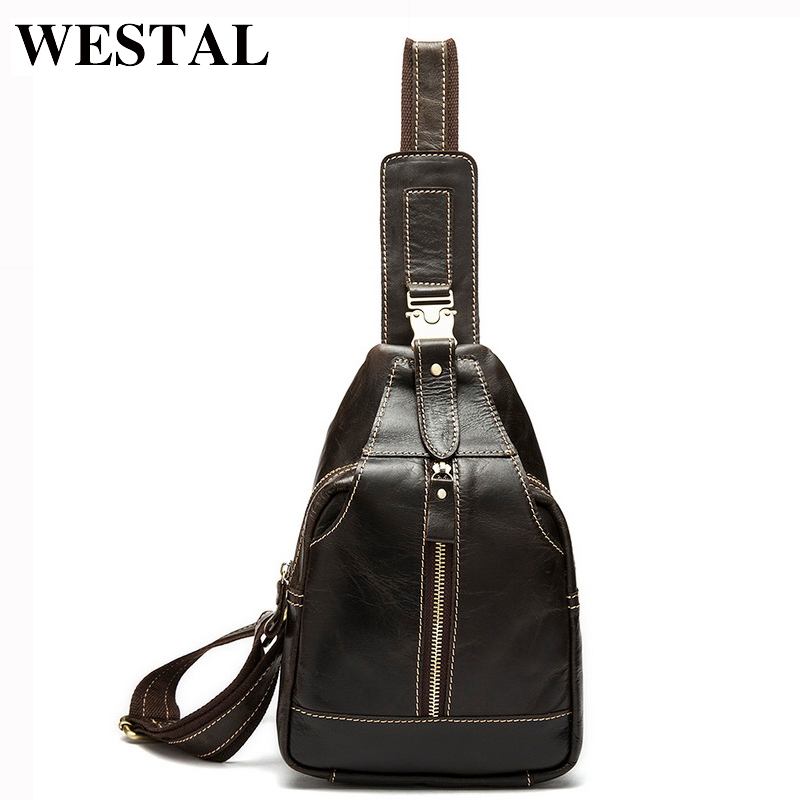 WESTAL Men's Travel Phone Chest Pack Genuine Leather Men Bag Men Messenger Shoulder Bags Leather Belt Waist Bag Crossbody Bags цена