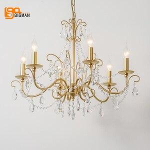 Image 3 - Lustres de cristal estilo europeu iluminação moderna para sala estar jantar ouro kristallen kroonluchter led luminárias