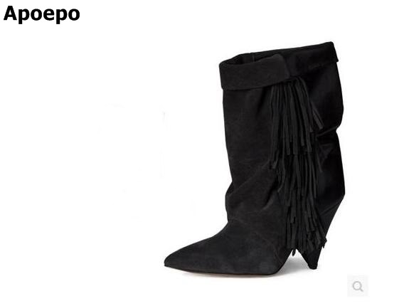 Women Autumn Winter Fringe Ankle Boots Sexy Hoof Heel Pointed Toe Tassel Bootie Turn-over Dress Shoes High Quality Short Boot blaibilton new autumn winter high quality mens ankle boot 100