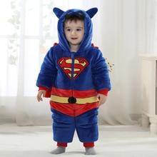 Moda infantil casaco bonito superman traje snowsuits para meninos da criança do bebê