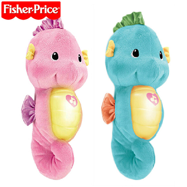 Fisher Soothe and Glow Seahorse Baby Kids Appease Toy Sock And Wrist Rattles Educational Toddler Toys for Newborns Toy Gift