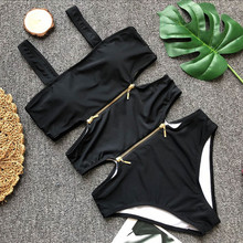 Funfeliz Female Swimsuit Sexy Bodysuit Black Monokini Women One Piece Bikini 2019 White Swimming Suit fro Bathers