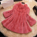 Fashion stand collar 100/100 Real Rex Rabbit Fur Coat Plus Size Warm Winter overcoat Women