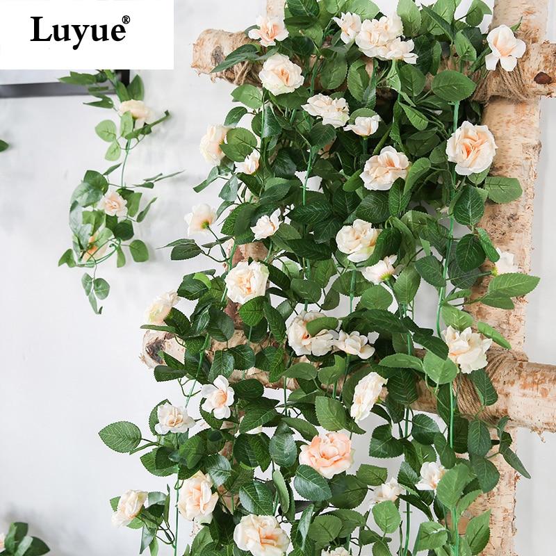 Luyue 230cm Artificial Flower Vines Wedding Decor Rose Fake Flowers Rattan String Garden Hanging Garland Silk Flower Plant Leaf Plant Stand