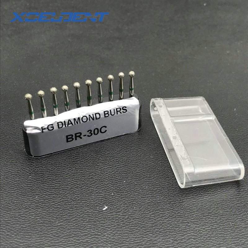 10pcs Dental Diamond Burs Drill Dia-burs Polishing Smoothing Whitening Product For High Speed Handpiece Medium FG 1.6M