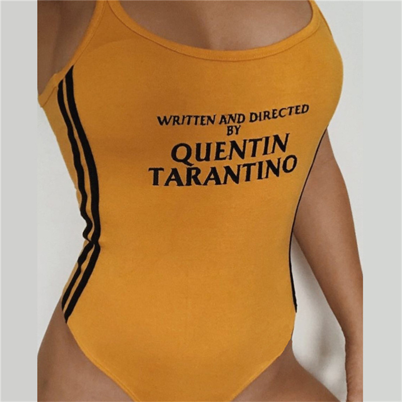 GEZOUR QUENTIN TARANTINO Bodysuits Women Sexy Cotton Knitted Sleeveless Side Stripe Rompers Letter Printed Playsuit Jumpsuits