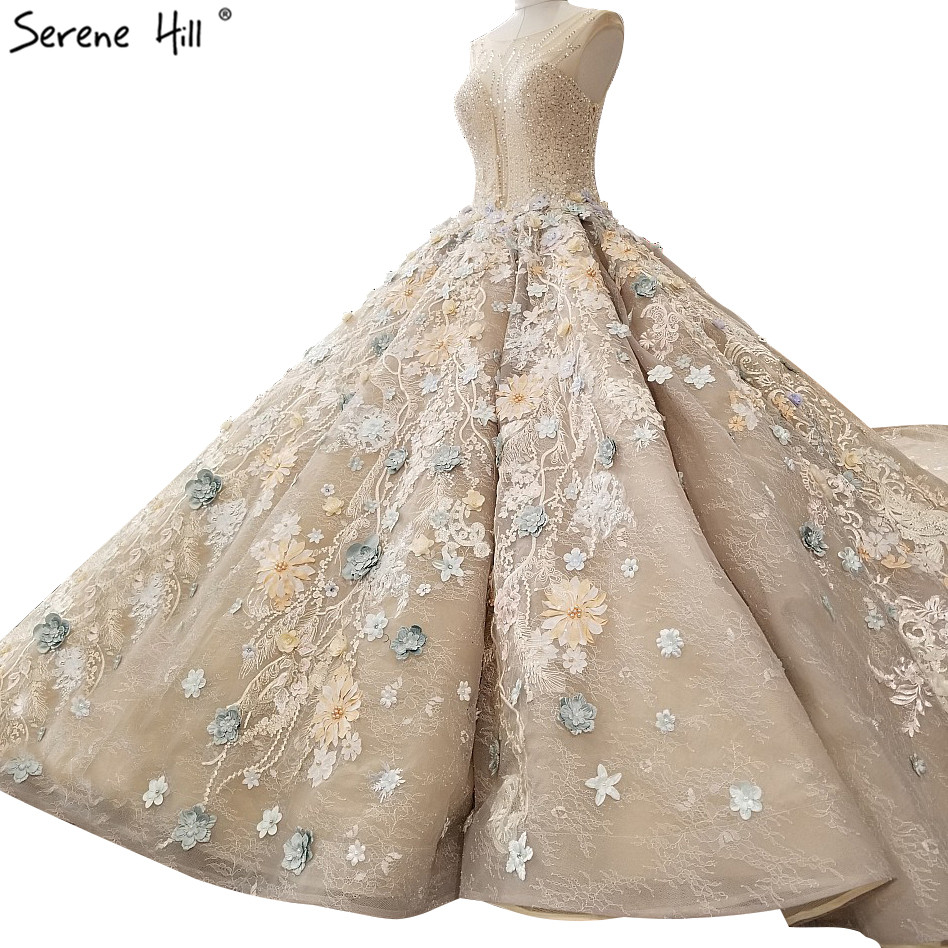 Highend Luxury Sexy Composite Lace Wedding Dresses 2019 Colored Flowers Sequined Fashion Vintage Bridal Gown Real Picture