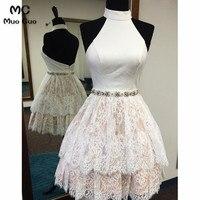 2018 кружевное короткое платье для Школьного бала, вечерние платья с аппликацией, с открытой спиной, многоуровневые коктейльные платья для вы