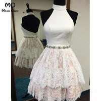 2018 Halter Lace Homecoming Dress Short Party Dresses with Appliques Backless Tiered Homecoming Cocktail Dresses