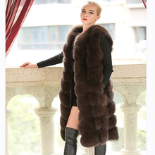 90CM Natural Real Fox Fur Vests New 2018 Winter Long Thick Women Genuine Fur Jacket with Pockets Real Fur Vest Coats Female