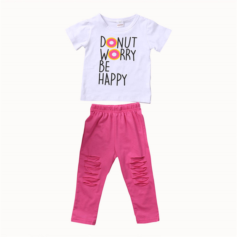 New Style Toddler Kids Baby Girls Clothes Summer Short Sleeve T-shirt Tops Hole Pants Outfits Baby Clothing Set