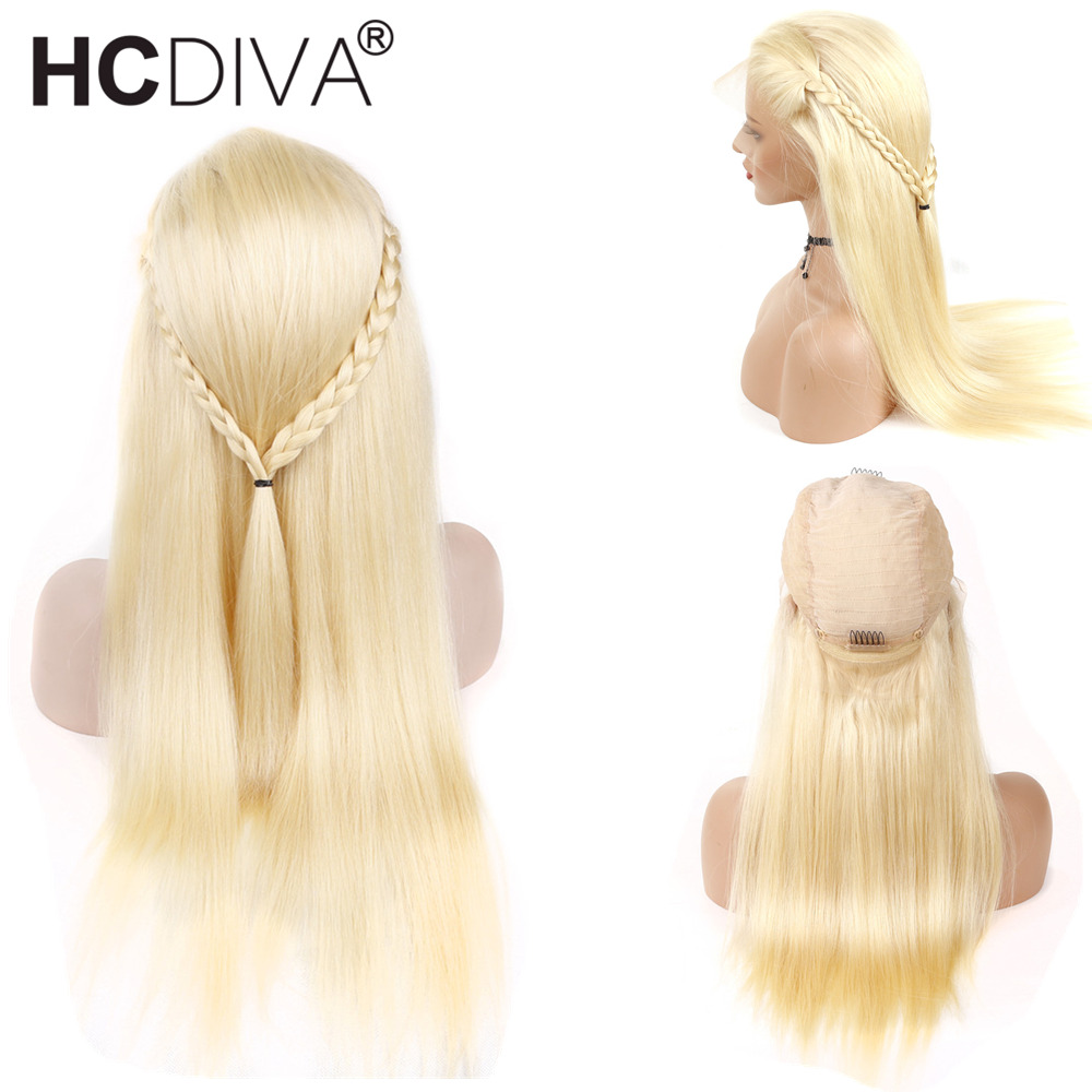 Honey Blond #613 Lace Frontal Human Hair Wigs Average Size 130% Density Lace Frontal Wigs For Woman Peruvian Remy Straight Wigs