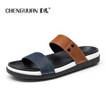 ЧЭНЬЮАНЬ мужские мужские сандалии Британский летом пляж Римские нескользящей мужчин синий черные сандалии случайные двойного назначения обувь