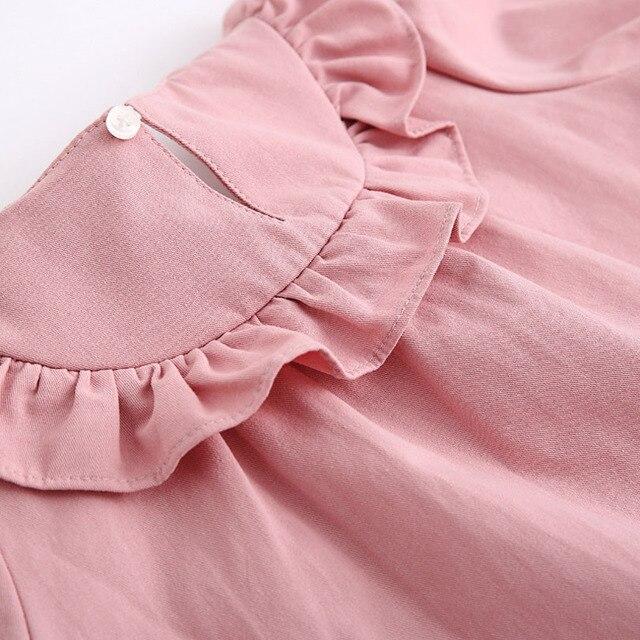 Peuter Meisje Shirts 2019 Lente Mode Wit Roze Kleur Baby Meisjes Blouses Leuke Lange Mouwen Ruffle Tops Kids Kleding 0-4Y